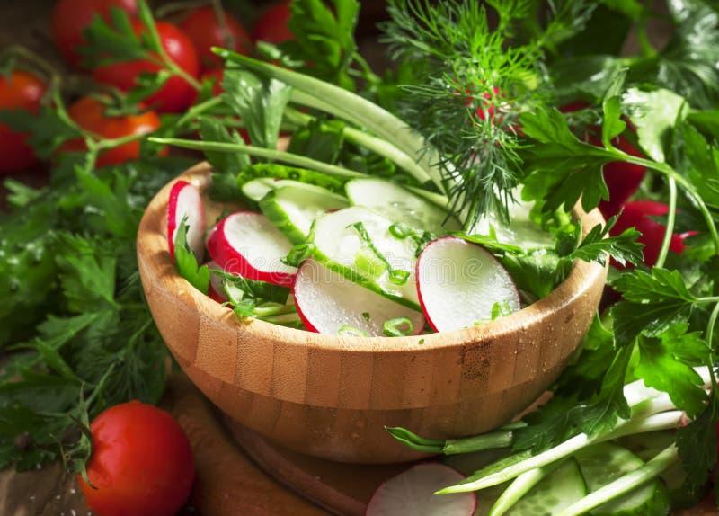 Salade végétarienne avec des radis, concombre, tomate, ail sauvage, g photographie stock libre de droits
