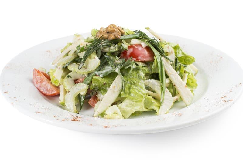 Salade végétarienne d'été avec le céleri et les pommes photographie stock