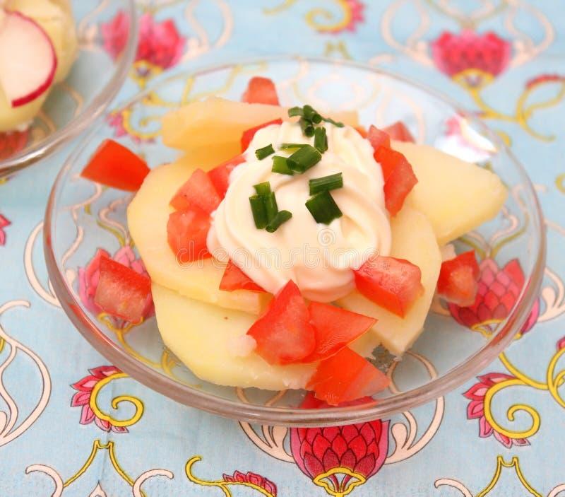 Salade van aardappels royalty-vrije stock foto