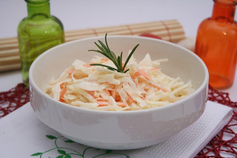 Salade van kool en wortelen royalty-vrije stock foto's