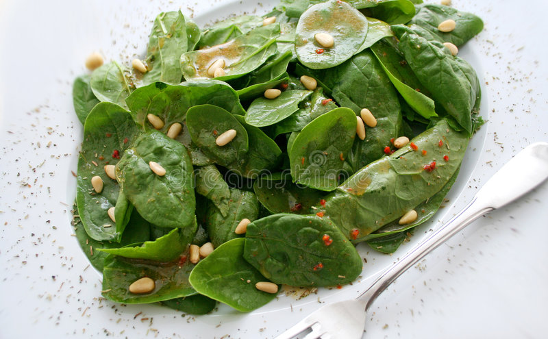Salade van spinazie stock afbeelding
