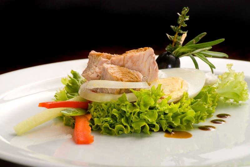 Salade van verse groenten, ei, ingeblikte vissentonijn en olijven stock foto