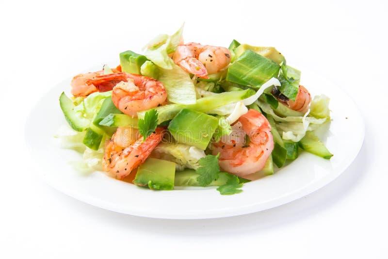 Salade verte avec la crevette et l'avocat photo stock