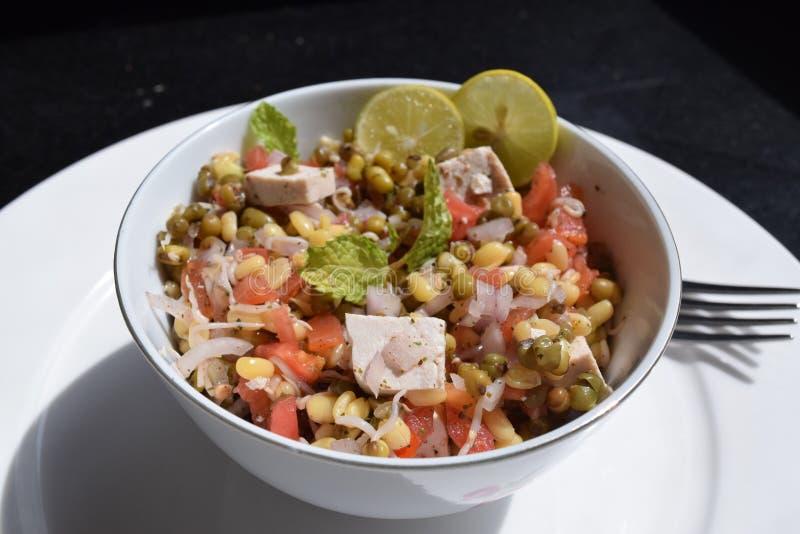Salade verte de fèves de mung avec le tofu, l'oignon, la tomate et la chaux images stock