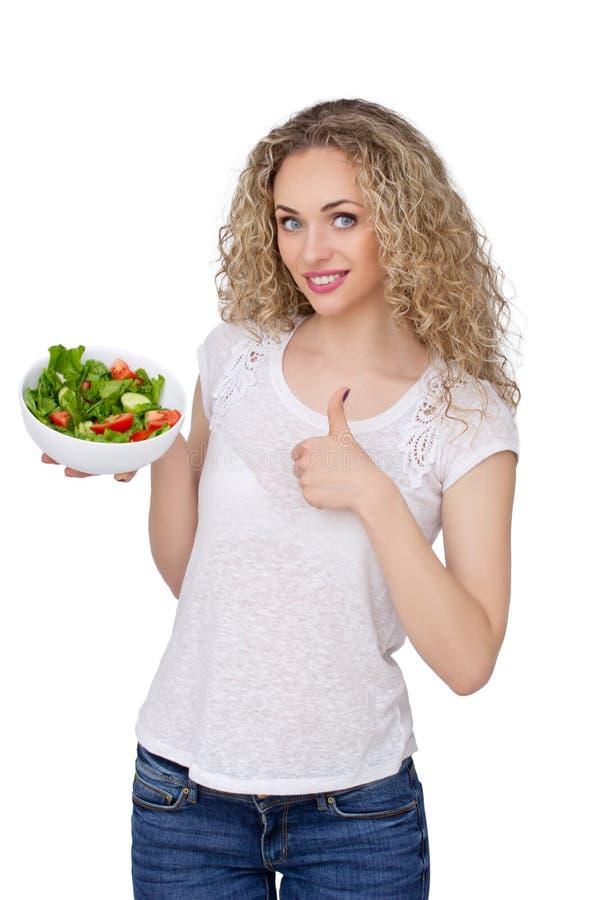 Salade verte de prise modèle femelle image libre de droits