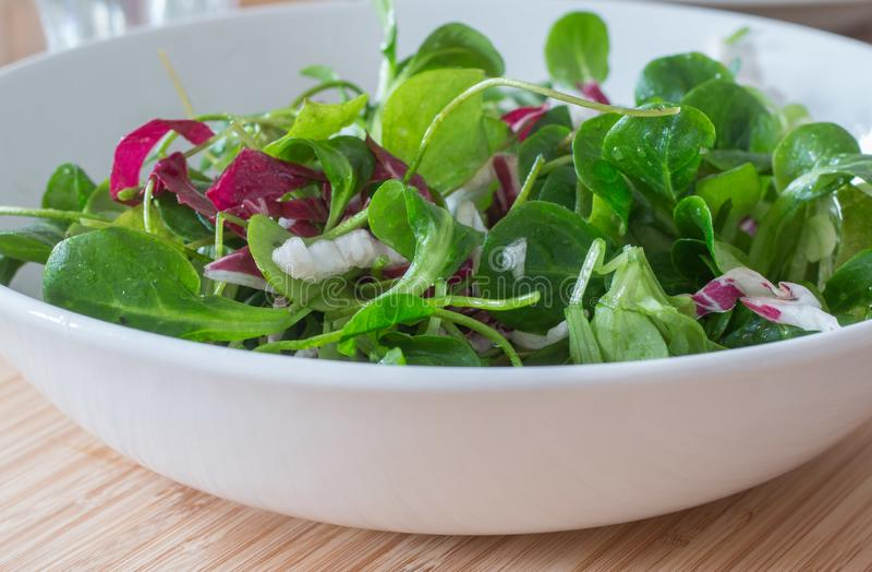 Salade verte v?g?tarienne pour le r?gime dans une cuvette en c?ramique sur une table en bois image stock