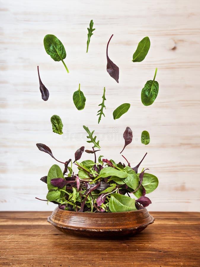 Saladeexplosie met arugula, bieten, spinazie en spruiten op heldere houten raad over witte achtergrond, hoogste mening royalty-vrije stock foto's