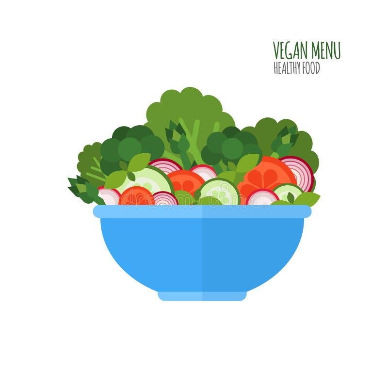 Saladekom De ingrediënten van de salade Veganistmenu Beschadigd en gebroken concept Gezond voedselconcept Vegetarische kom Vector royalty-vrije illustratie