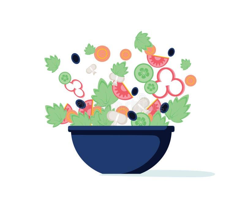Saladekom Groene salade met peper, tomaat, komkommer, paddestoelen, olijven Vector Groene salade van verse groenten royalty-vrije illustratie