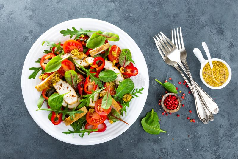 Saladier de légume frais des tomates, des épinards, du poivre, de l'arugula, des feuilles de cardon et de la viande grillée de po photographie stock libre de droits
