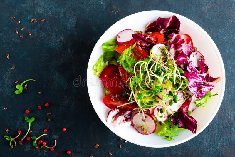 Saladier de légume frais des tomates, du mélange italien, du poivre, du radis, des pousses vertes et des graines de lin Plat végé images libres de droits