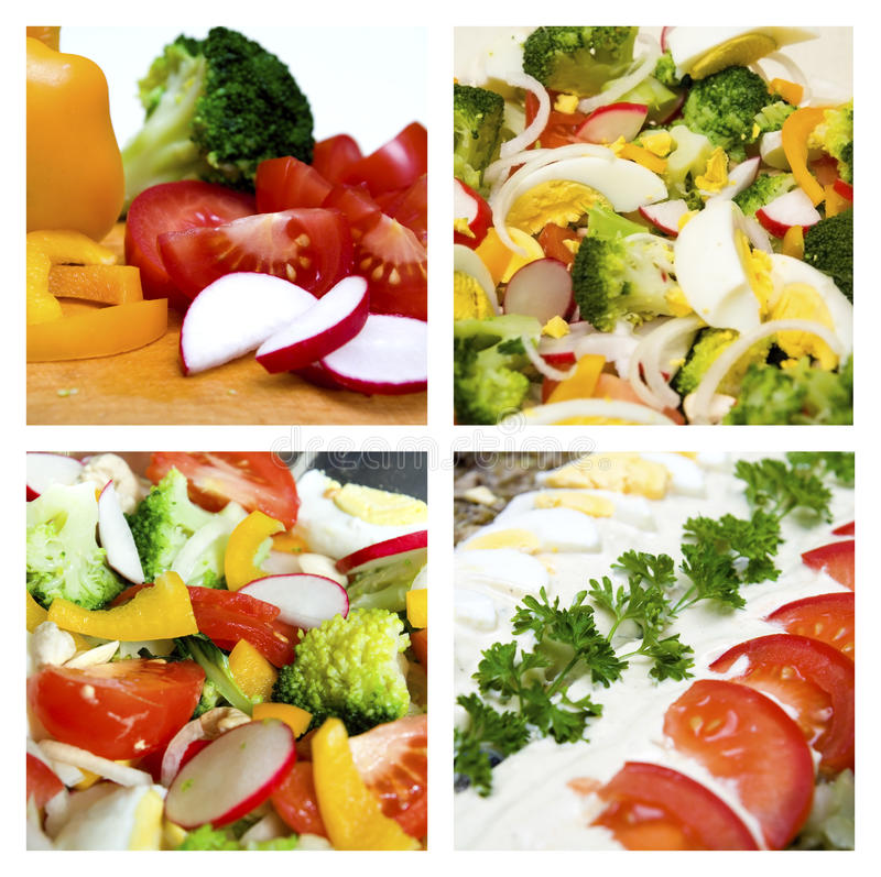 Salads collage. Collage of different salads and vegetable