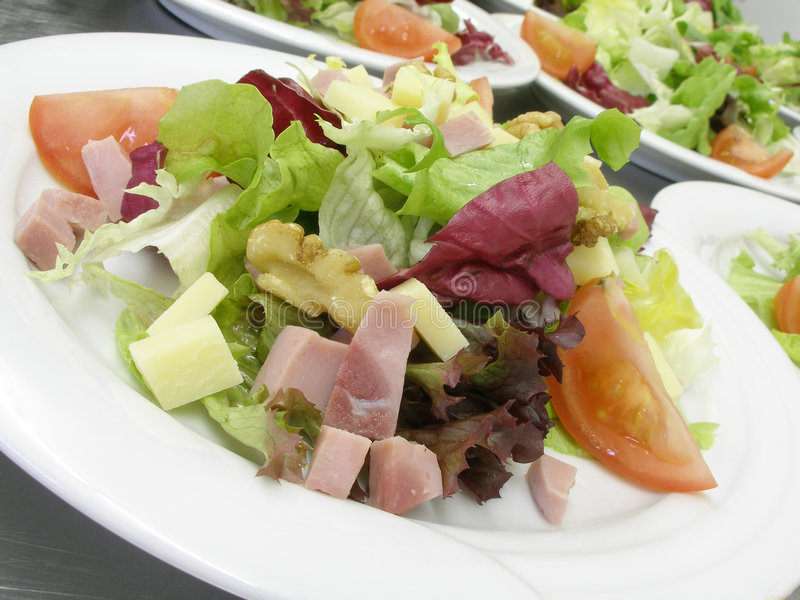 Download Salads with ham stock photo. Image of fresh, serving, diet - 4751348