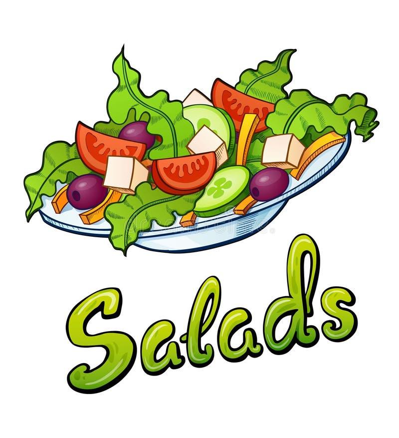 Salads Lettering And Illustration Stock Illustration - Illustration of  fast, olive: 139537886