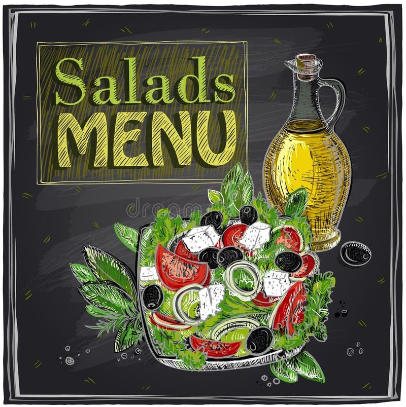 Salads menu chalkboard design. stock illustration