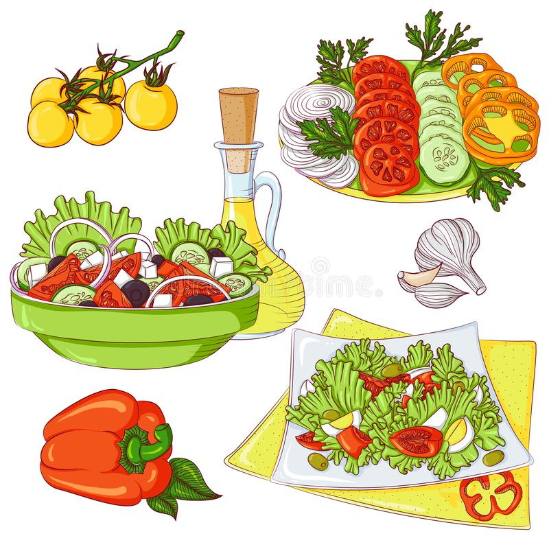 Salads set vector illustration