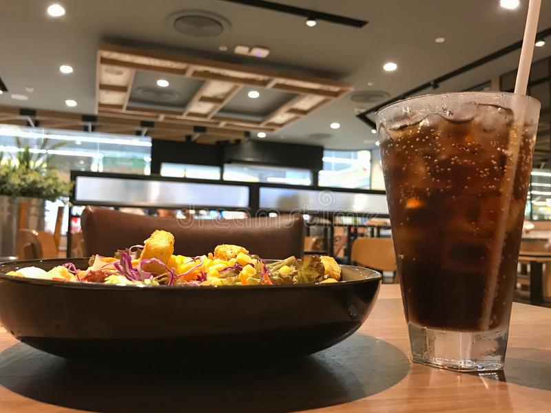 Salads and soft drinks. stock photography