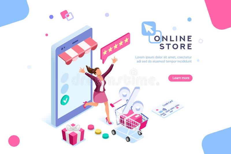 Salaire commercial de caractère de concept d'achats et de remises illustration stock