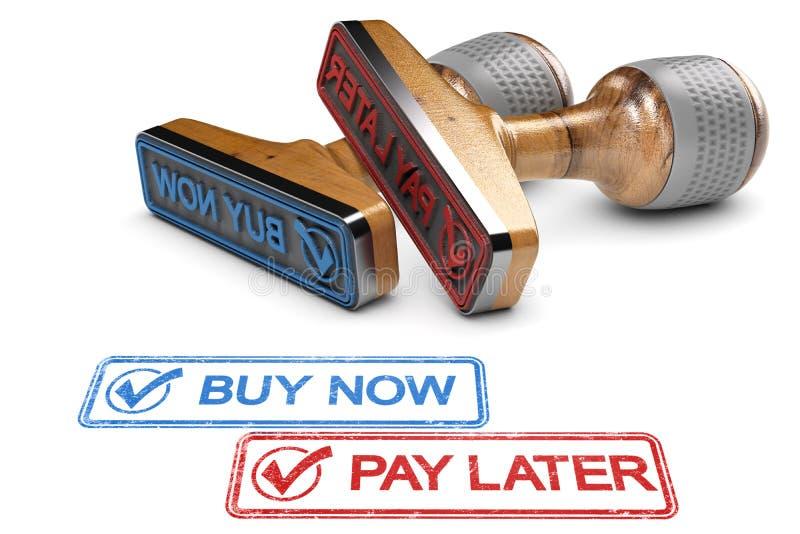 Salaire d'acheter maintenant plus tard illustration libre de droits
