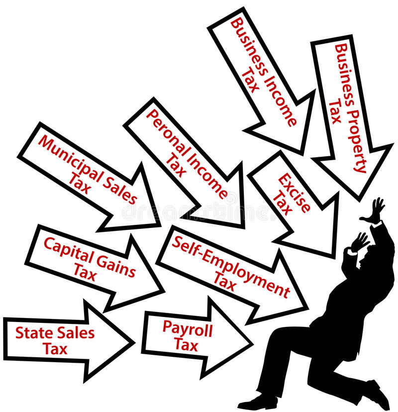 Salaire d'homme d'affaires trop d'impôts illustration libre de droits