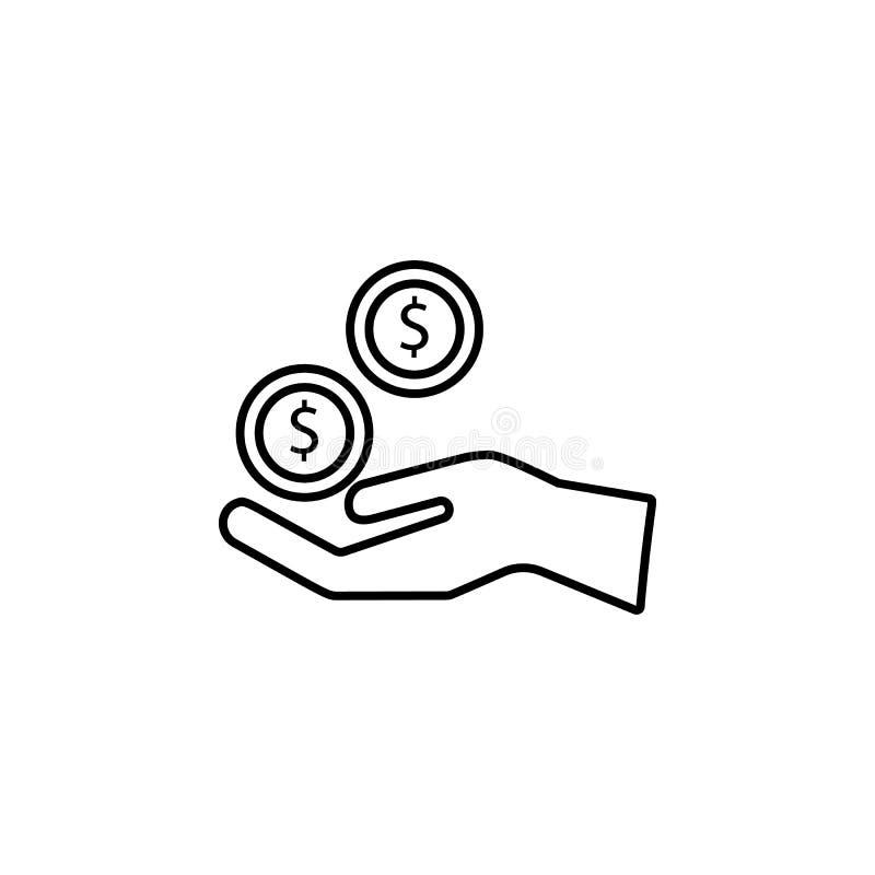 salaire d'icône de donation Élément de don du sang pour l'illustration mobile d'apps de concept et de Web Ligne mince icône pour  illustration de vecteur