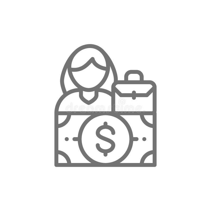 Salaire de femme, espace de genre, ligne femelle icône d'égalité illustration de vecteur