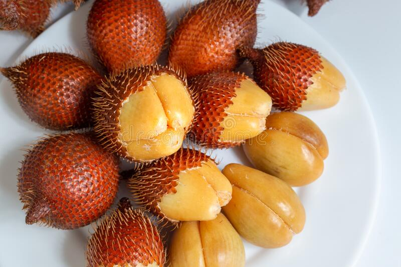 Salak fruit, Salacca zalacca in dish on the table stock photos