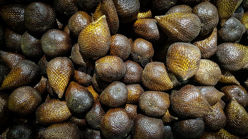 Salak fruit is sold on traditional Asian markets stock image