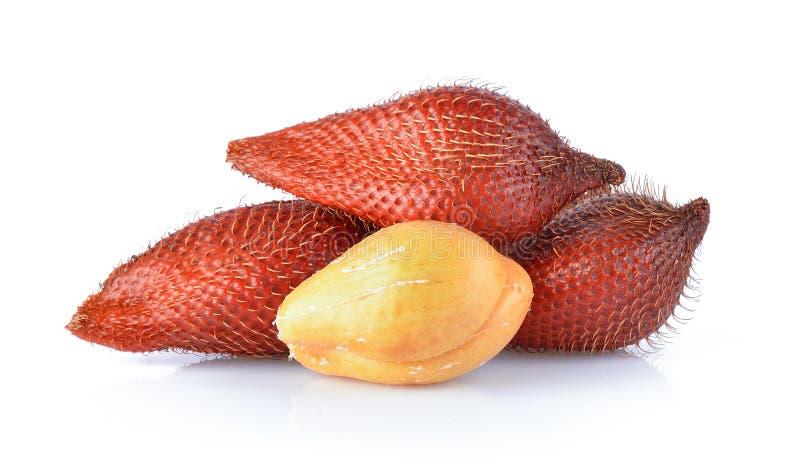 Salakfruit, Salacca-zalacca op de witte achtergrond wordt geïsoleerd die stock foto
