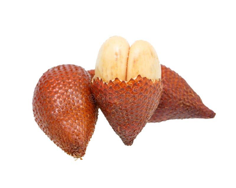 Salakfruit, Salacca-zalacca op de witte achtergrond wordt geïsoleerd die royalty-vrije stock fotografie