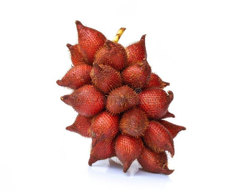 Salakfruit, salaccazalacca op witte achtergrond wordt ge?soleerd die stock foto