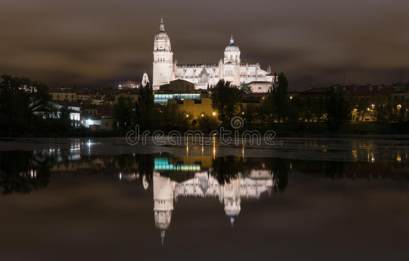 Salamanca Cathedral by Night stock photography
