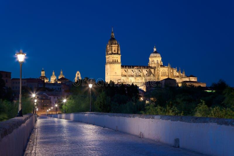 Salamanca en la noche imagenes de archivo