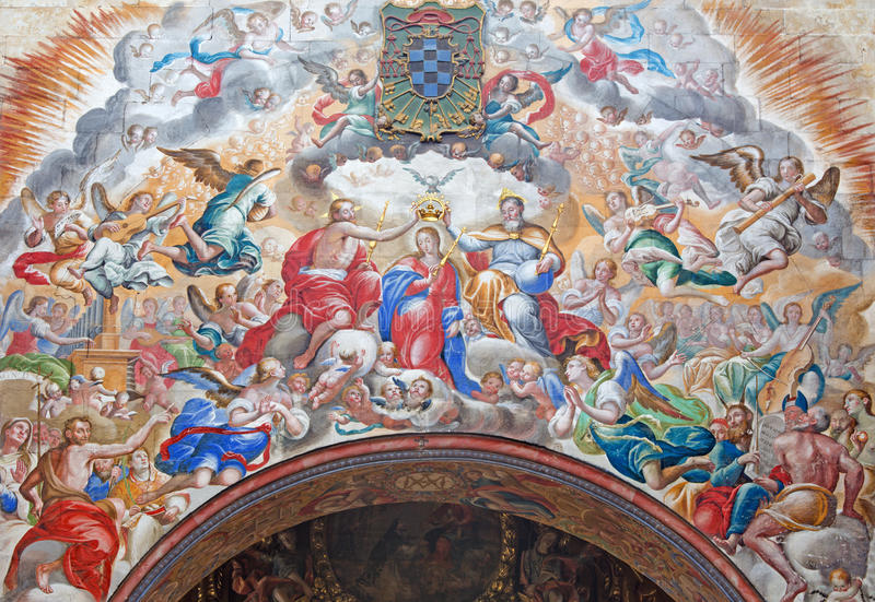 Salamanca - The fresco of Coronation of Virgin Mary by Antonio de Villamor 1661-1729 in monastery Convento de San Esteban stock photos