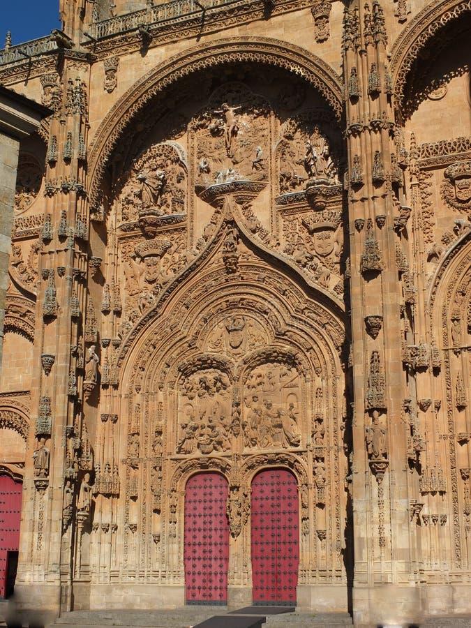 Salamanca-Kathedralen-südliches Tür-Detail stockfotos