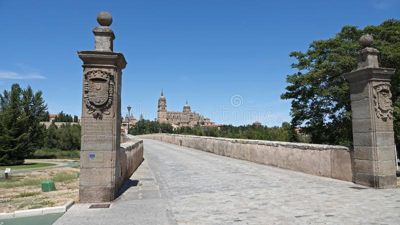 New Cathedral and bridge to Salamanca city in Castile et Leon, Spain royalty free stock photography