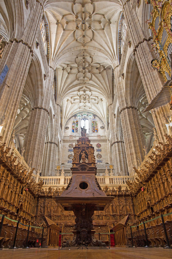 SALAMANCA, SPAIN, APRIL - 16, 2016: The choir of New Cathedral Catedral Nueva stock images