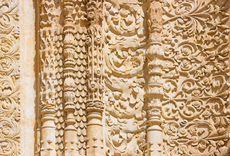 SALAMANCA, SPAIN, APRIL - 17, 2016: The detail of gothic decoration of south portal of the Cathedral - Catedral Viej royalty free stock image