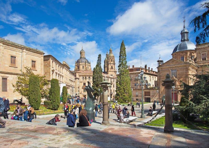 SALAMANCA, SPAIN, APRIL - 16, 2016: The Plaza de Anaya square stock photos