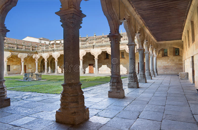 SALAMANCA, SPAIN, 2016: The atrium of baroque patio of the Escuelas Menores - University of Salamanca. stock photos