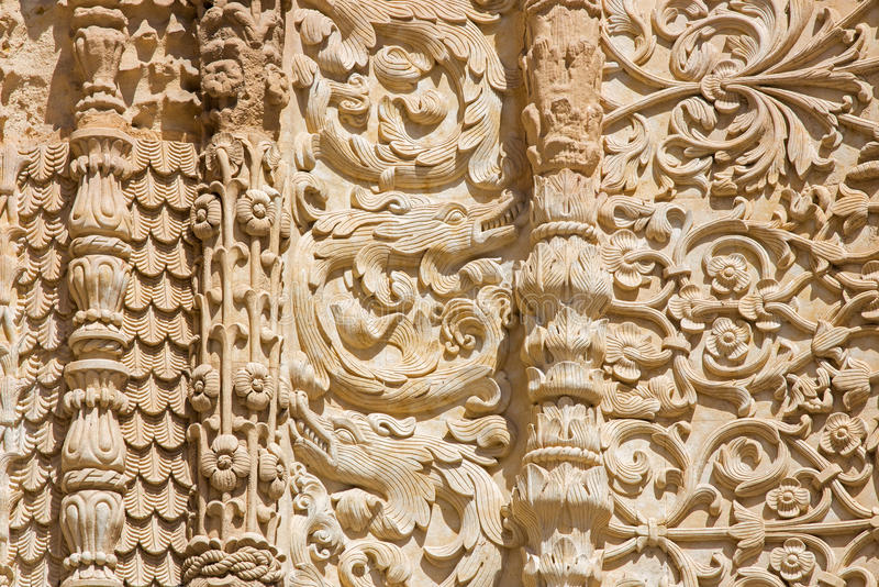 SALAMANCA, SPAIN, 2016: The detail of gothic decoration of south portal of the Cathedral - Catedral Vieja royalty free stock image