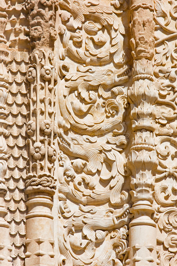 SALAMANCA, SPAIN, 2016: The detail of gothic decoration of south portal of the Cathedral - Catedral Vieja stock photography
