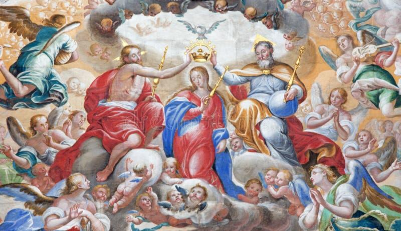 SALAMANCA, SPAIN: Fresco of Coronation of Virgin Mary in monastery Convento de San Esteban and Chapel of Rosary. SALAMANCA, SPAIN, APRIL - 16, 2016: The fresco royalty free stock photos