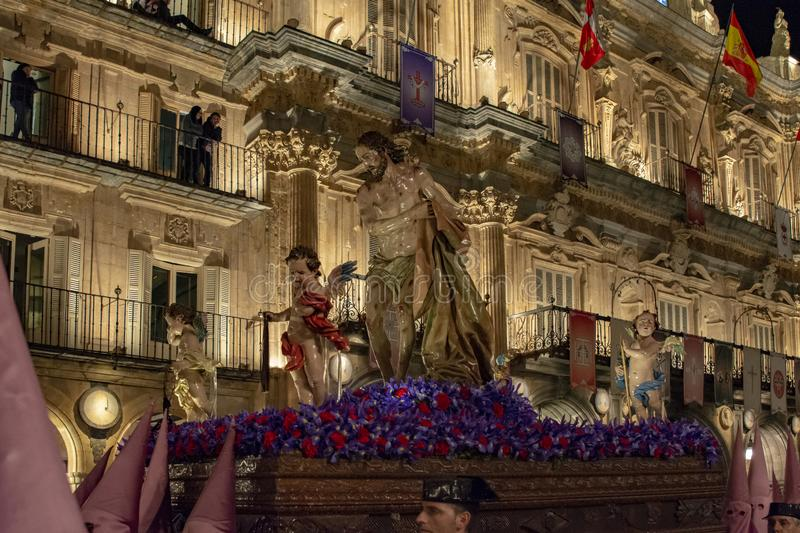 Holy Wednesday Procession in Salamanca, Spain. Salamanca, Spain; March 2017: Brotherhood of Our Father Jesus Flagelado and Our Lady of Tears, parading the night stock image