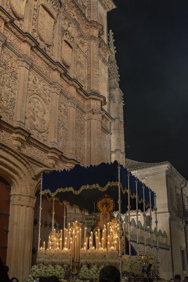Processions through the streets of Salamanca , Spain. Salamanca, Spain; March 2017: Procession of the Hermandad de Penitencia de Nuestro Padre Jesús Despojado stock photography
