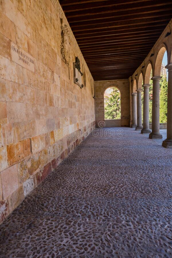 Old historic cloister in Salamanca royalty free stock photo