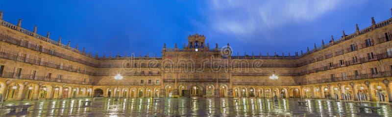 SALAMANCA, SPAIN, 2016: The panorama of square Plaza Mayor at dusk. royalty free stock photo