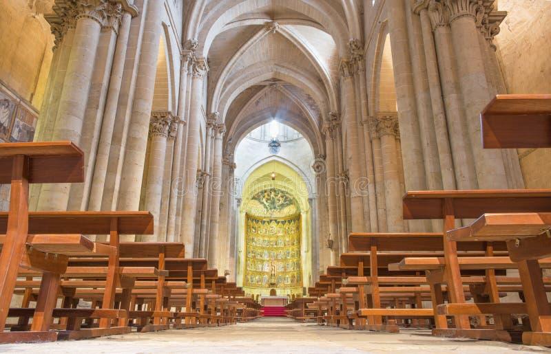 SALAMANCA SPANIEN, 2016: Den gamla domkyrkan för gotiskt huvudsakligt skepp & x28en; Catedral Vieja& x29; arkivbilder