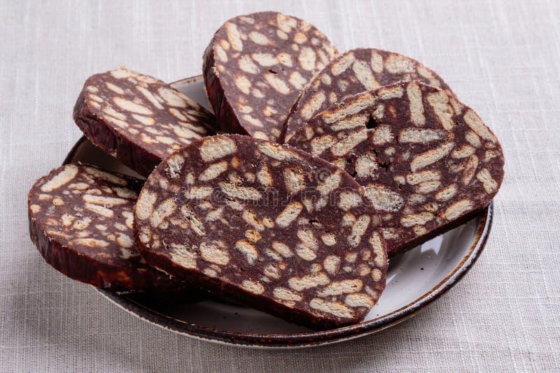Salame del biscotto del cioccolato fotografie stock libere da diritti