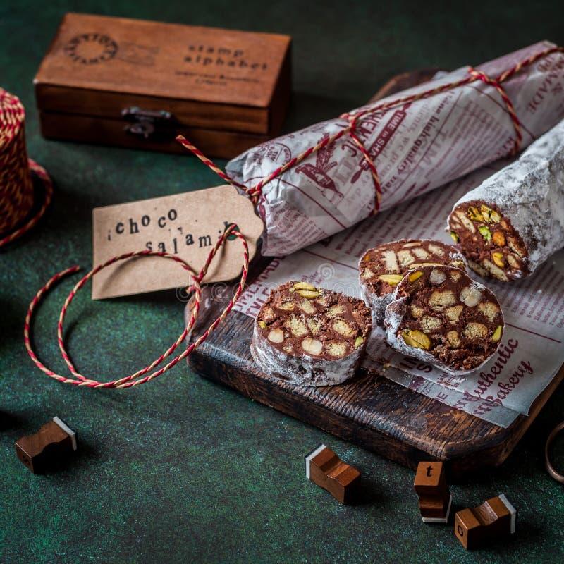 Salame del cioccolato di Natale fotografia stock libera da diritti